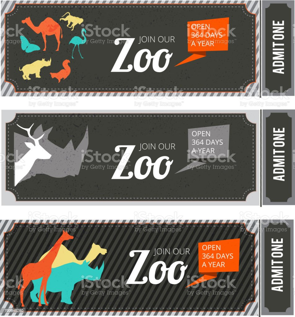 Design template of zoo tickets with different wild animals on it and place for your text vector art illustration
