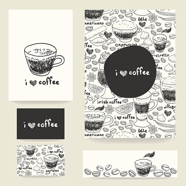 Design template set with coffee cups and beans pattern Vector design template set. Doodle coffee cups and beans and spices pattern for flyers, banner, cards and advertisement with space for your text. irish coffee stock illustrations