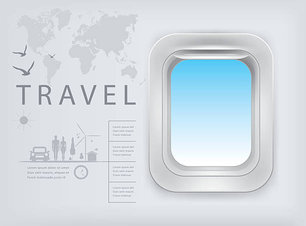 Design template with aircraft porthole. vector illustration. Design template with aircraft porthole. vector illustration. airport patterns stock illustrations