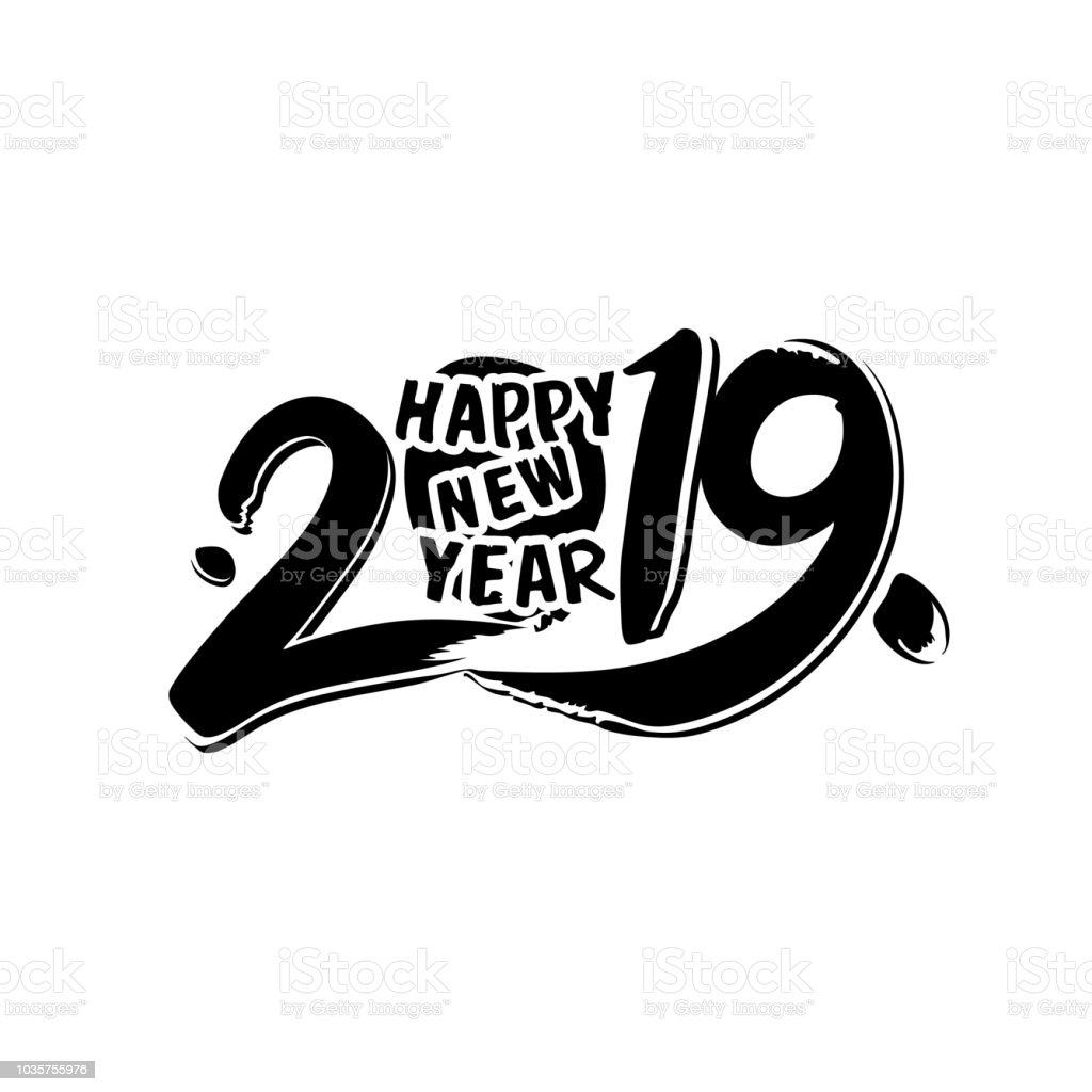 design template with calligraphy for 2019 happy new year stock