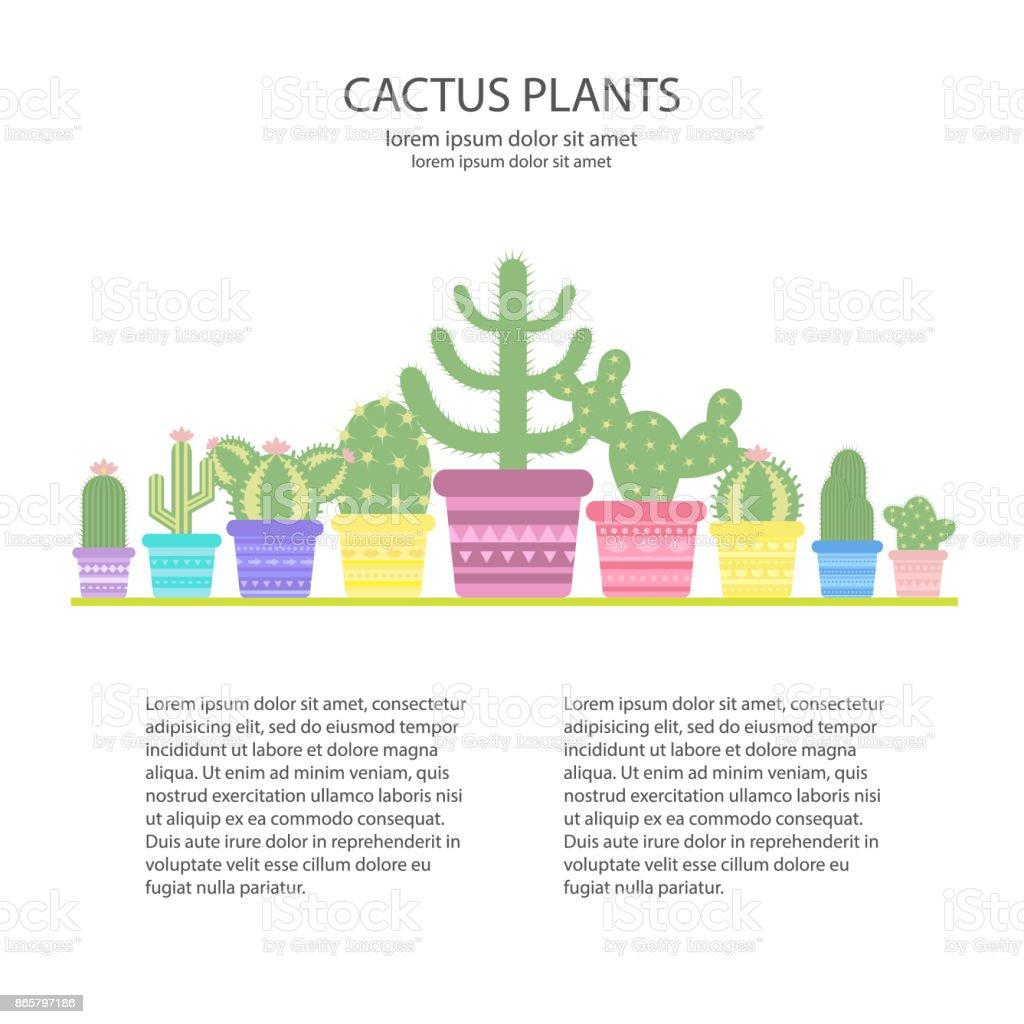 Design Vorlage Mit Bunten Kakteen In Einem Topf Ikone Der Kaktusblute Lizenzfreies Designvorlage