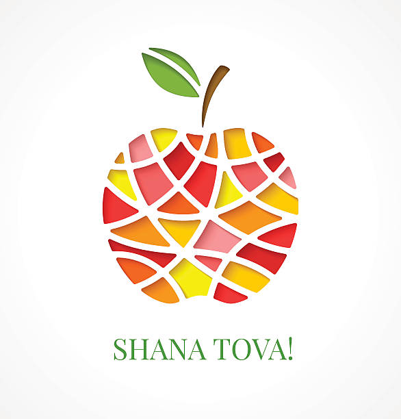 design template with cut out multicolor apple - rosh hashana stock illustrations