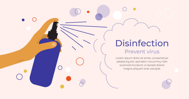Design template with human hand and antibacterial sanitizer spray – artystyczna grafika wektorowa