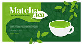 Cup of healthy organic beverage matcha tea. Illustration of Japanese drink made from green powder. Branches of tea plant with leaves. Macha sign design. Background, template for menu, web page, flyer
