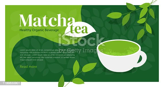 istock Design template with matcha tea 1199830901