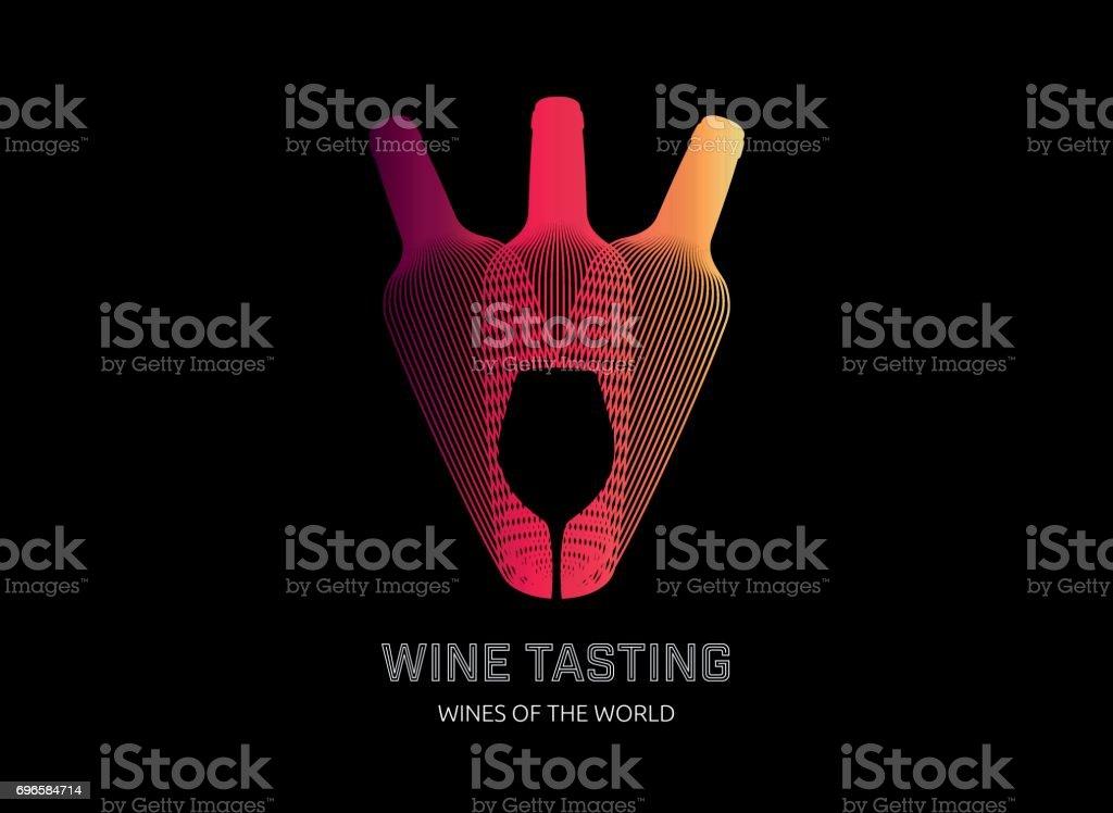 Design template with modern illustration of wine bottles vector art illustration