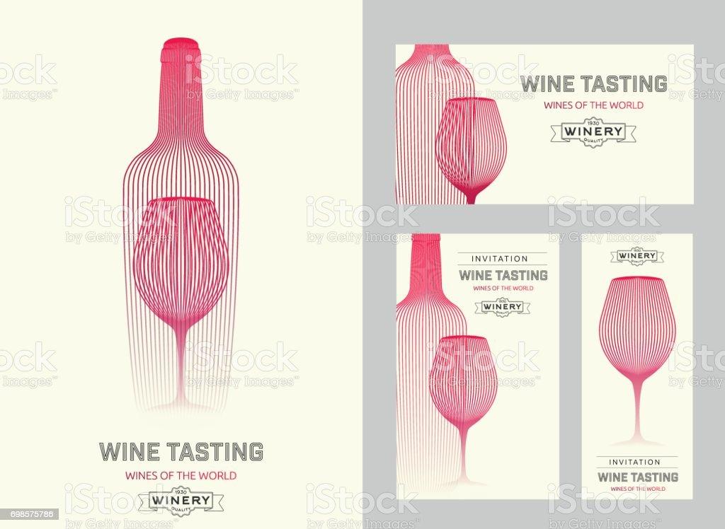 Modèle de conception avec une illustration moderne du verre de vin et bouteille - Illustration vectorielle
