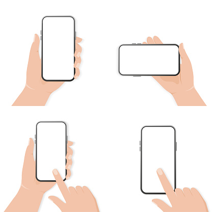 Design template with smartphone with hand rotate. Technology vector illustration. Smartphone mockup. Mobile application design. Vector illustration.