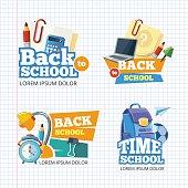 Design template with vector school emblem sets.