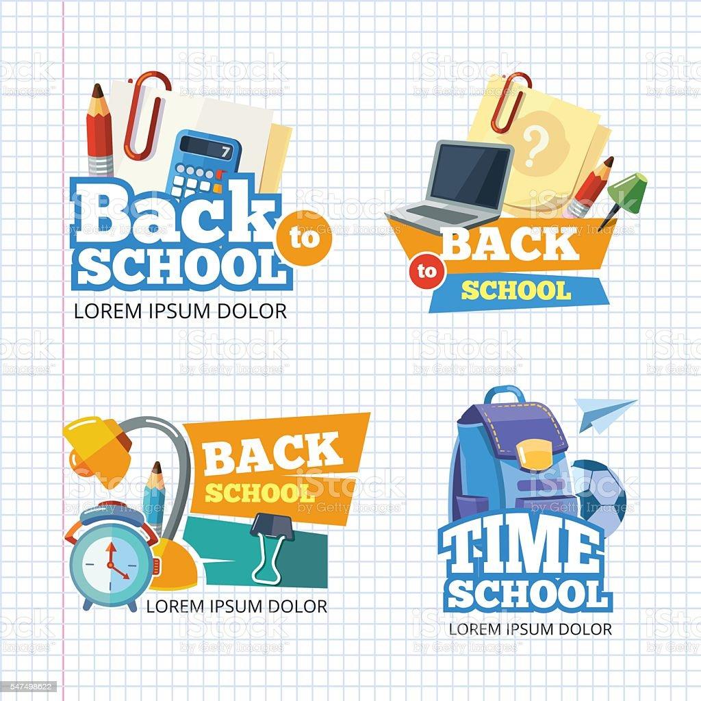 Design template with vector school emblem sets. - ilustração de arte em vetor