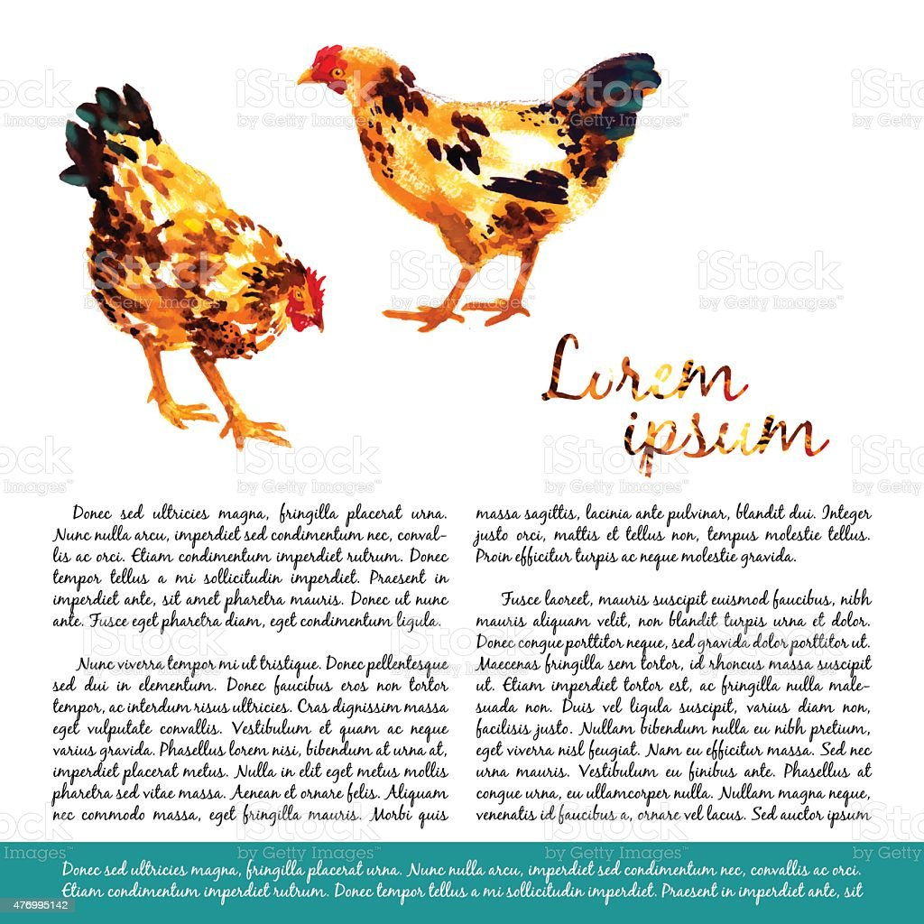 Design template with watercolor hens vector art illustration