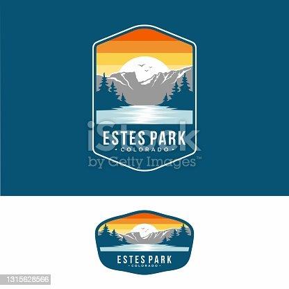 istock Design template.Este park emblem patch illustration in Rocky Mountains National park 1315628566
