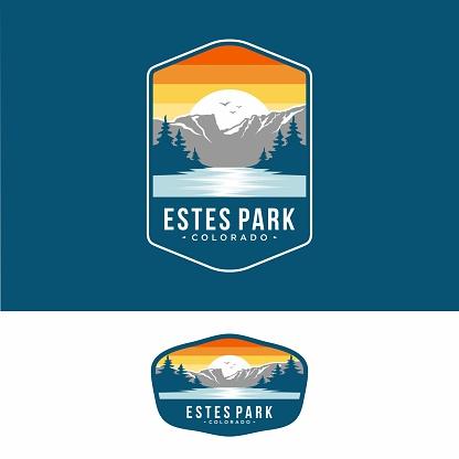 Design template.Este park emblem patch illustration in Rocky Mountains National park
