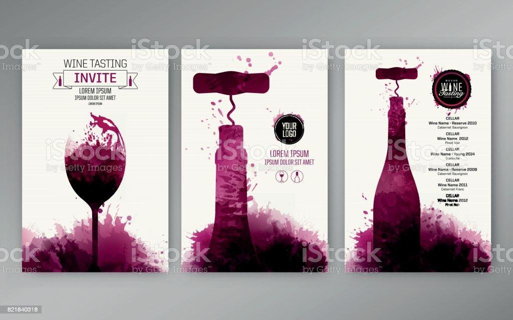Diseño plantillas fondo vino manchas - ilustración de arte vectorial