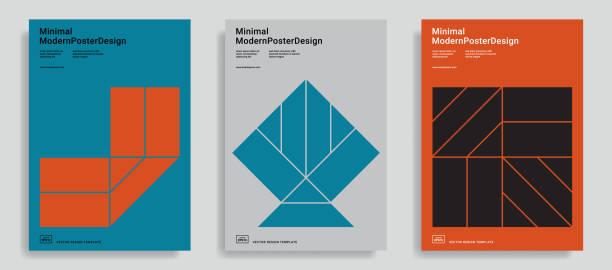 design-vorlagen mit einfachen geometrischen formen. - bauhaus stock-grafiken, -clipart, -cartoons und -symbole