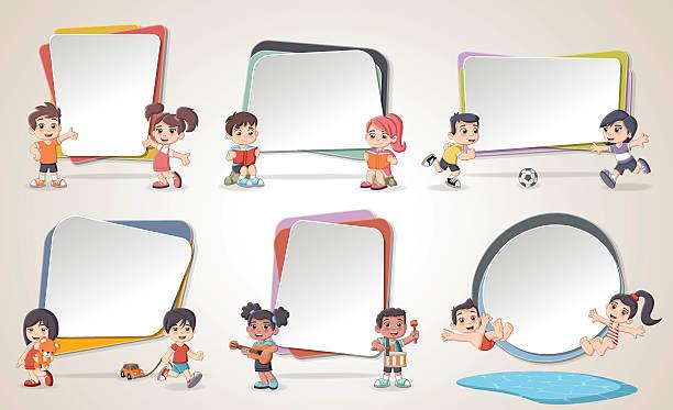 design text box frame backgrounds with cartoon children - kindersprüche stock-grafiken, -clipart, -cartoons und -symbole