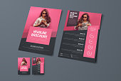 Design the front and back pages of the brochure with pink rectangular elements and a place for photos. Template of a black vector flyer for business, advertising and printing.