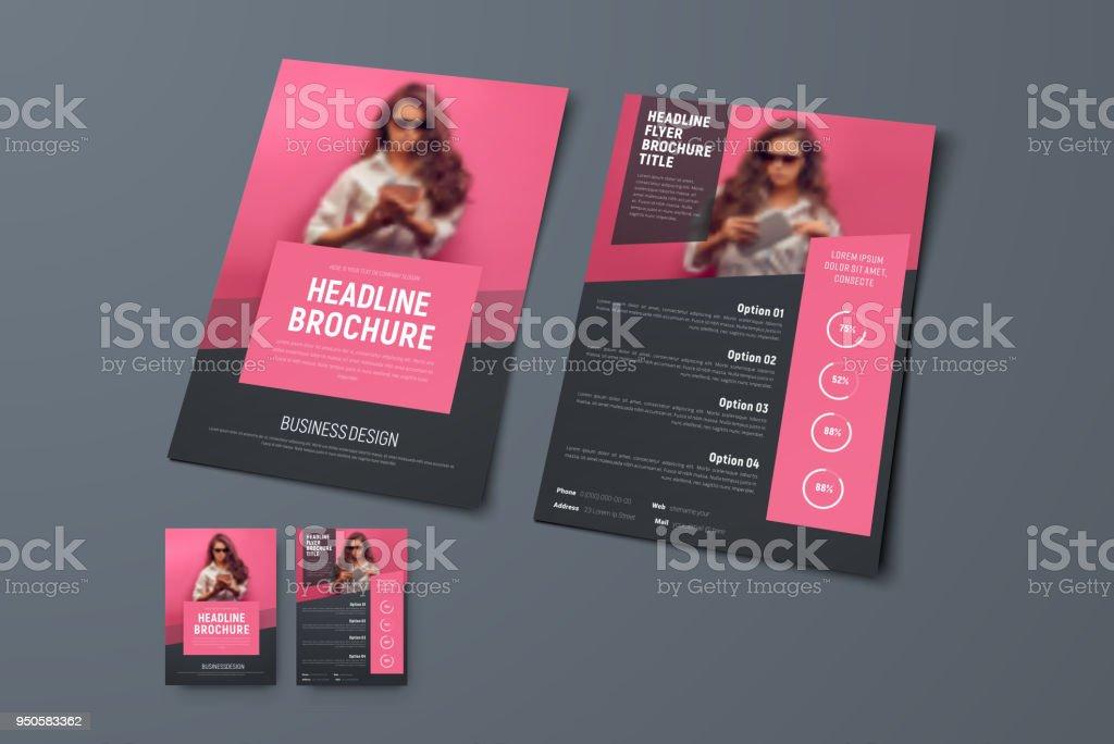 Die vorderen und hinteren Seiten der Broschüre mit rosa rechteckige Elemente und einen Platz für Fotos zu entwerfen. – Vektorgrafik