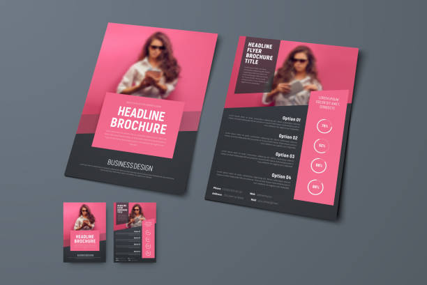 design the front and back pages of the brochure with pink rectangular elements and a place for photos. - flyers templates stock illustrations