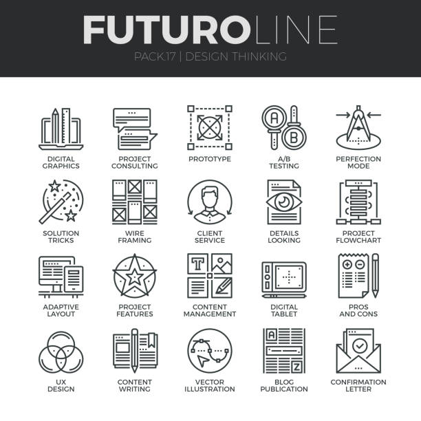 Design Thinking Futuro Line Icons Set Modern thin line icons set of content production studio, solution projecting. Premium quality outline symbol collection. Simple mono linear pictogram pack. Stroke vector symbol concept for web graphics. stunt stock illustrations