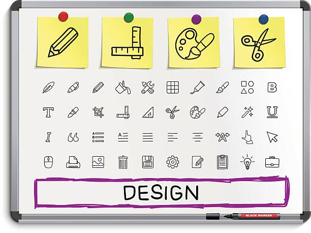 design-tools hand zeichnung linie-icons. - rankgitter stock-grafiken, -clipart, -cartoons und -symbole