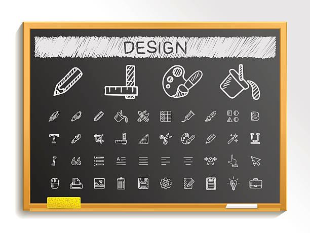 design-tools hand-zeichnung skizze symbole.   vektor doodles tafel illustrationen - rankgitter stock-grafiken, -clipart, -cartoons und -symbole