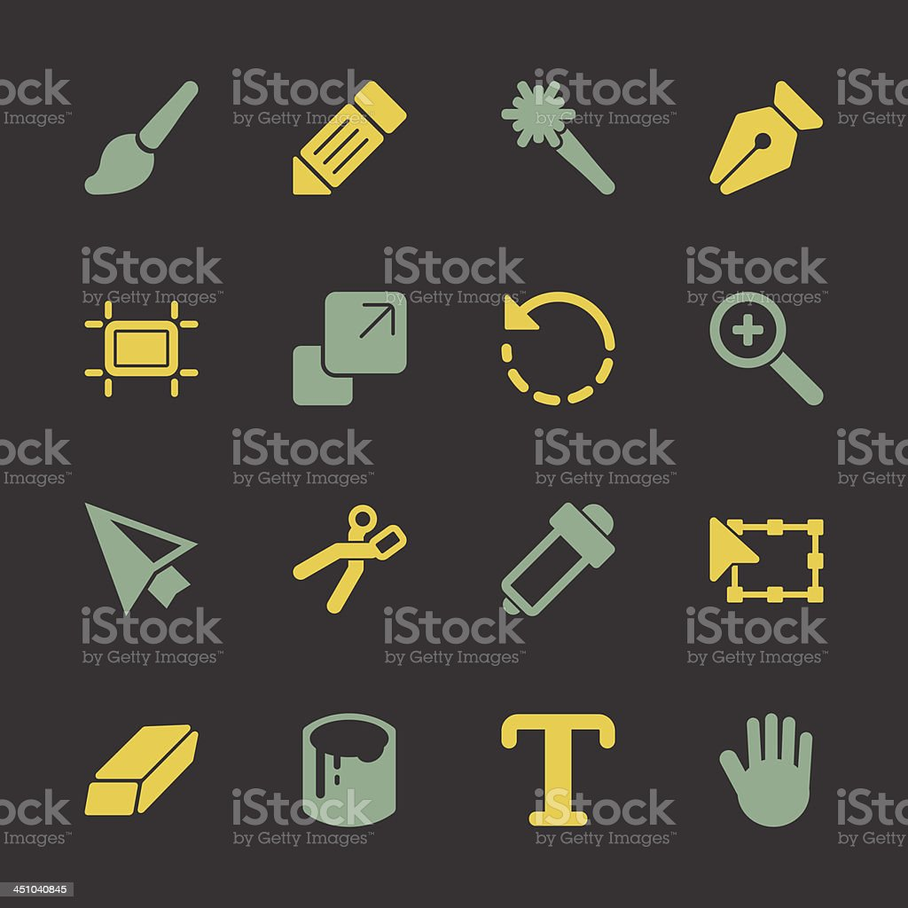 Design Tools Icons - Color Series | EPS10 royalty-free design tools icons color series eps10 stock vector art & more images of arrow symbol
