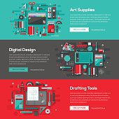 A set of web banners with flat design-styled vectors themed on art supplies, digital design and drafting tools. EPS 10 file, layered & grouped,
