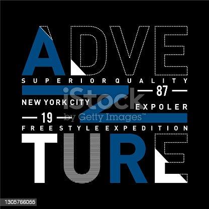 istock ADVENTURE design typography vintage vector illustration for t shirt 1305766055
