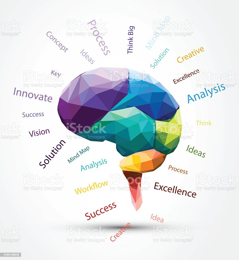 Design Vector Brain Polygon And Smart Word Stock