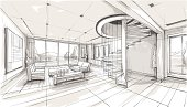 Vector illustration of interior design. In the style of drawing.  (ai 10 eps with transparency effect)