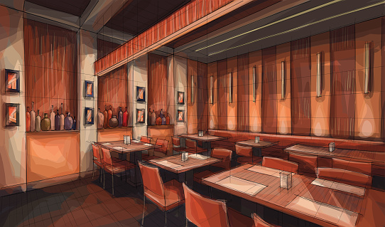 Restaurant stock illustrations