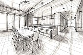 Vector illustration of interior design. In the style of drawing.  (ai 10 eps with transparency effect).