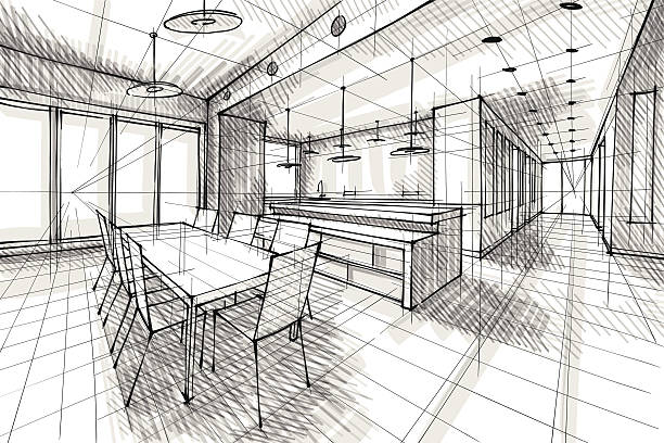 design Vector illustration of interior design. In the style of drawing.  (ai 10 eps with transparency effect). architecture illustrations stock illustrations