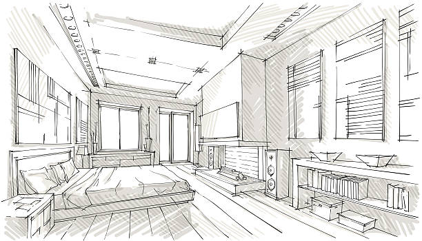 design Vector illustration of interior design. In the style of drawing.  (ai 10 eps with transparency effect) bedroom drawings stock illustrations
