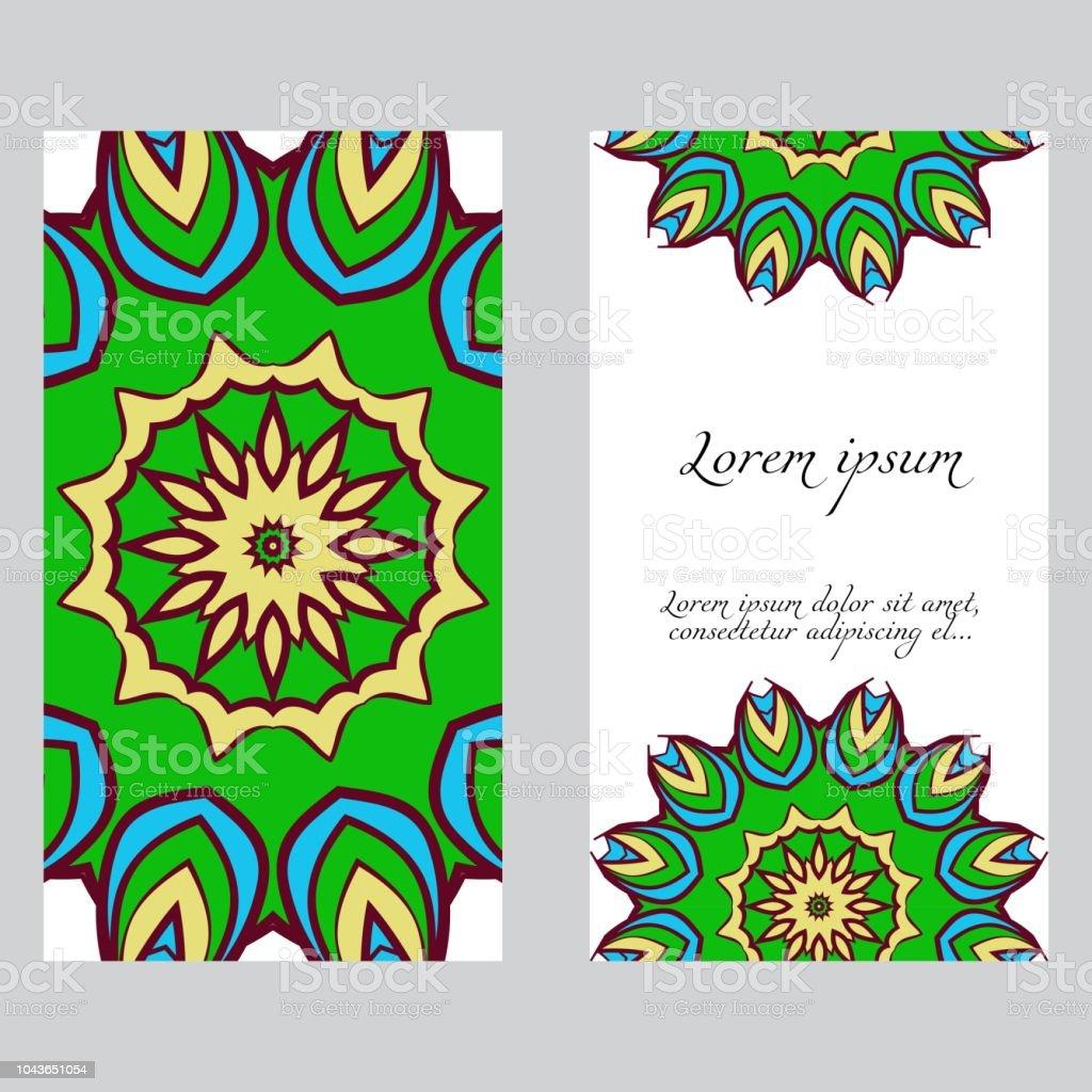 Ilustração de Criar Cartões De Vintage Com Padrão Floral Mandala E ...