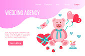Design website, landing page or presentation template for wedding company or dating agency. Vector flat style design concept for party and  wedding anniversary celebration. Minimal modern concept.