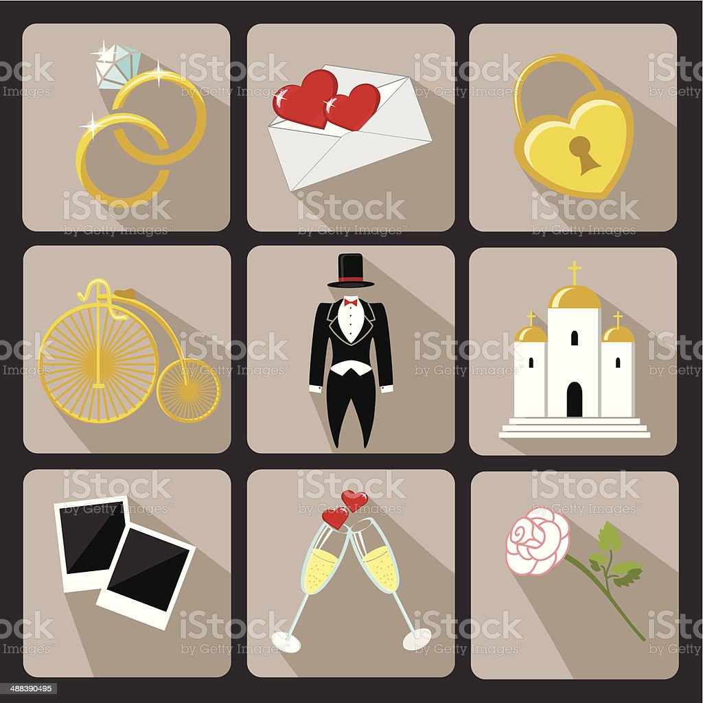 Design wedding  icons for Web and Mobile.Vintage Vector royalty-free stock vector art