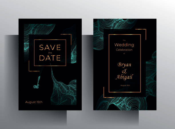 Design wedding invitation template set Design wedding invitation template set. Turquoise texture elements and golden frames on a black background are hand-drawn. Vector 10 EPS. wedding invitation stock illustrations