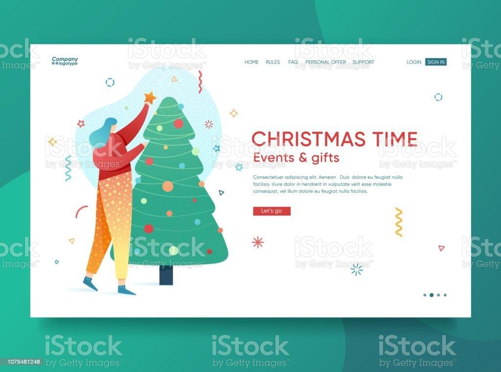 Inicio Feliz Navidad.Ilustracion De Diseno De Plantilla De Pagina De Inicio De