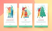 Design winter holidays landing page template. Merry Christmas and Happy New year website and UI layout. Flat people characters on Christmas party. Trendy illustration for holiday offer banner. Vector.