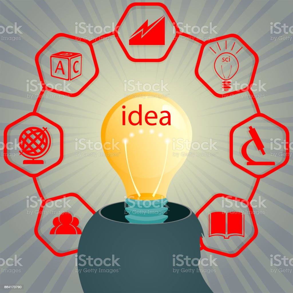Design with a silhouette of a head and a light bulb inside with signs of training, education royalty-free design with a silhouette of a head and a light bulb inside with signs of training education stock vector art & more images of backgrounds