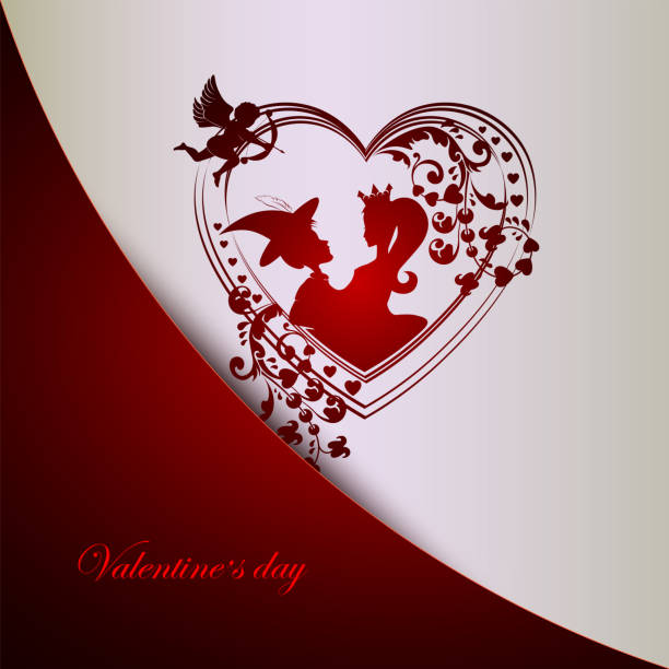 design with a silhouette of a heart, a poor guy and a princess - leap year stock illustrations, clip art, cartoons, & icons