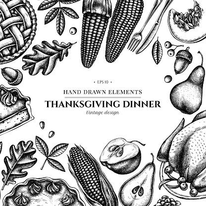 Design with black and white pumpkin, fork, knife, pears, turkey, pumpkin pie, apple pie, corn, apples, rowan, maple, oak