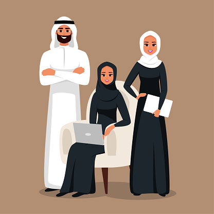 Design with Cartoon Characters business Moslem people in traditional clothing witm laptop and tablet.