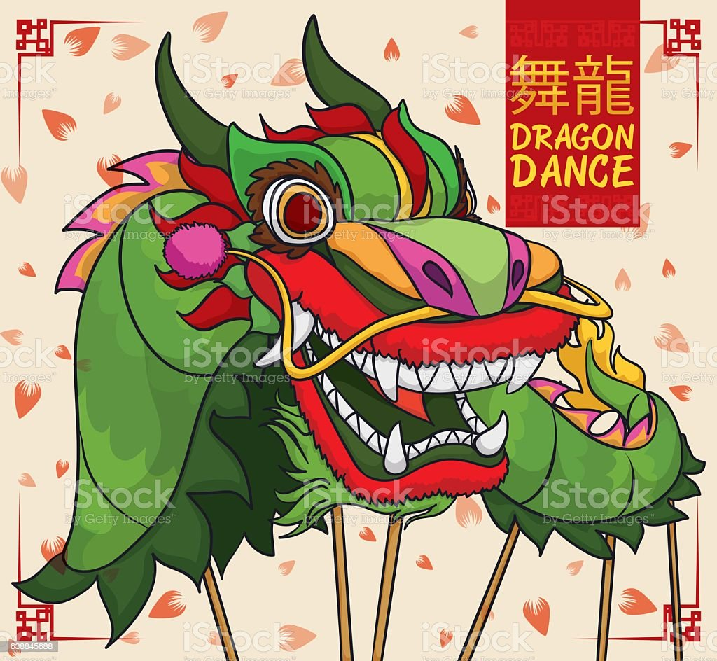 Design with Chinese Green Dragon Performing Dance in New Year vector art illustration