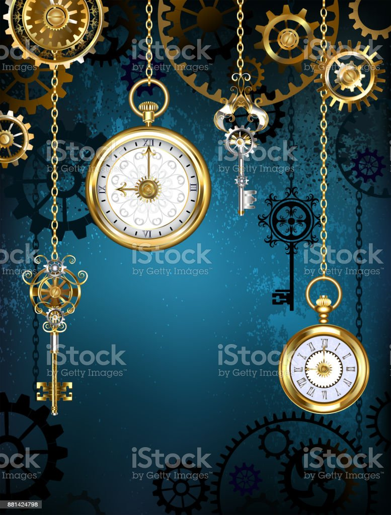 Design with clocks and gears vector art illustration