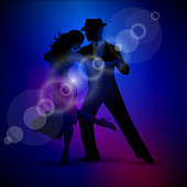 Vector design with couple dancing tango on dark background. EPS 10 illustration. Image contain transparency.