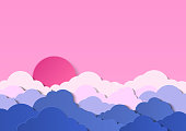 Design with cumulus clouds in a cloudy sky. Sunset or sunrise with red sun above the clouds. Paper cut design for cards, invitations, advertisements. Vector illustration