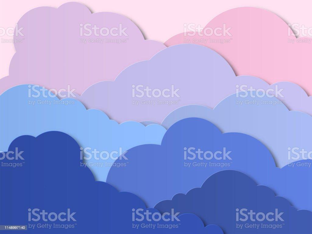 Design med Cumulus moln i en molnig himmel. Solnedgång eller sol uppgång med röd sol ovanför molnen. Papper skära design för kort, inbjudningar, annonser. Vektor - Royaltyfri Affisch vektorgrafik